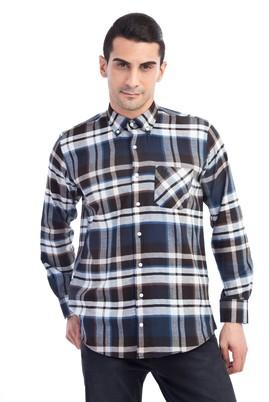 Erkek Giyim - Kahve XL Beden Uzun Kol Oduncu Ekose Gömlek