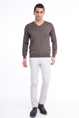 Erkek Giyim - Krem 48 Beden Slim Fit Desenli Spor Pantolon