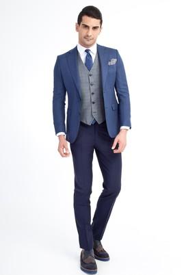 Erkek Giyim - Mavi 48 Beden Yelekli Kombinli Kuşgözü Takım Elbise