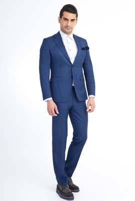 Erkek Giyim - Mavi 50 Beden Slim Fit Kuşgözü Takım Elbise