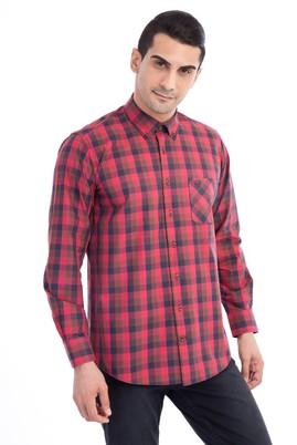 Erkek Giyim - Kırmızı L Beden Uzun Kol Ekose Gömlek
