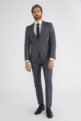 Erkek Giyim - Orta füme 56 Beden Slim Fit Desenli Takım Elbise