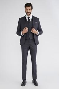 Erkek Giyim - Slim Fit Yelekli Desenli Takım Elbise