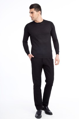 Erkek Giyim - Siyah 52 Beden Desenli Spor Pantolon