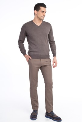 Erkek Giyim - VİZON 48 Beden Slim Fit Desenli Spor Pantolon