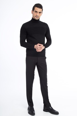 Erkek Giyim - Siyah 50 Beden Slim Fit Klasik Pantolon