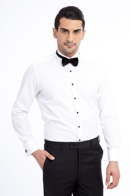Erkek Giyim - Beyaz S Beden Ata Yaka Klasik Gömlek