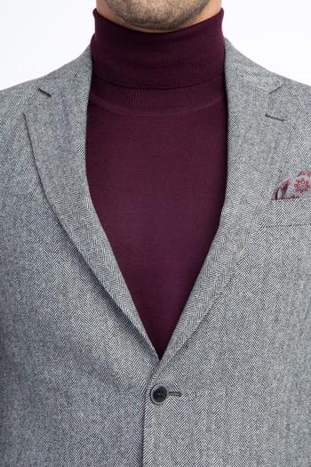 Erkek Giyim - Yünlü Balıksırtı Ceket
