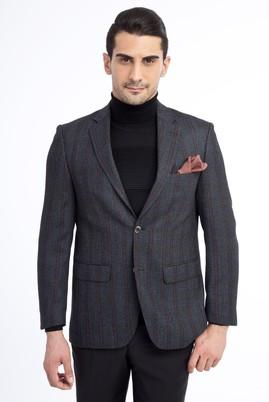 Erkek Giyim - Antrasit 48 Beden Regular Fit Yünlü Ekose Ceket