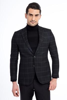 Erkek Giyim - Siyah 54 Beden Kareli Ceket