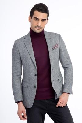 Erkek Giyim - Açık Gri 48 Beden Yünlü Kuşgözü Ceket