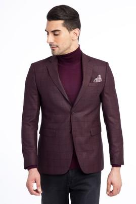 Erkek Giyim - Bordo 54 Beden Slim Fit Kareli Ceket
