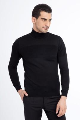 Erkek Giyim - Siyah XL Beden Balıkçı Yaka Yünlü Slim Fit Triko Kazak