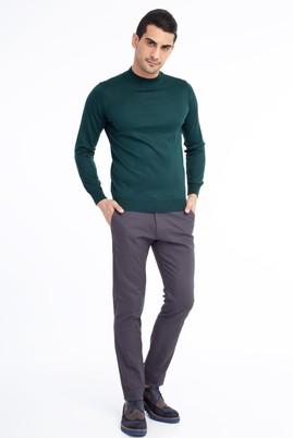 Erkek Giyim - Füme Gri 52 Beden Slim Fit Desenli Spor Pantolon