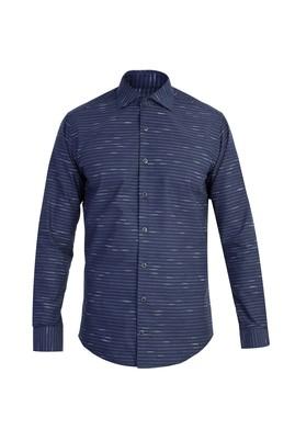Erkek Giyim - Lacivert L Beden Uzun Kol Çizgili Slim Fit Gömlek
