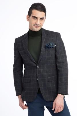 Erkek Giyim - KOYU YESİL 48 Beden Ekose Ceket