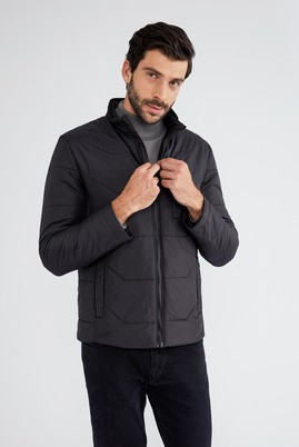 Erkek Giyim - Siyah 50 Beden Dik Yaka Spor Kaban