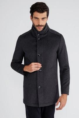 Erkek Giyim - Füme Gri 58 Beden Desenli Kaşe Yün Kaban