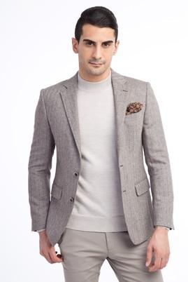Erkek Giyim - Kahve 50 Beden Balıksırtı Yünlü Ceket