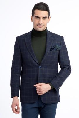 Erkek Giyim - Lacivert 48 Beden Ekose Ceket