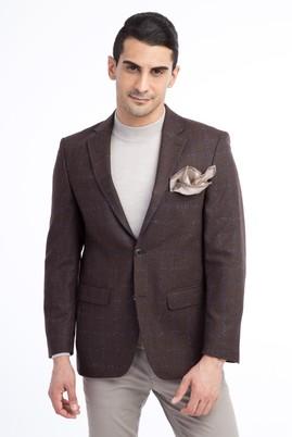 Erkek Giyim - KOYU KAHVE 52 Beden Yünlü Ekose Ceket