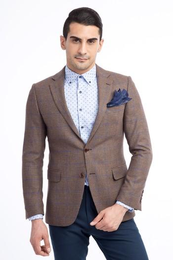 Erkek Giyim - Yünlü Ekose Ceket
