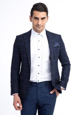 Erkek Giyim - Lacivert 46 Beden Ekose Ceket