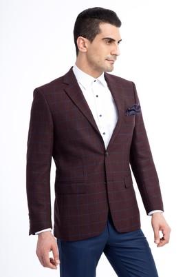 Erkek Giyim - Bordo 52 Beden Kareli Ceket
