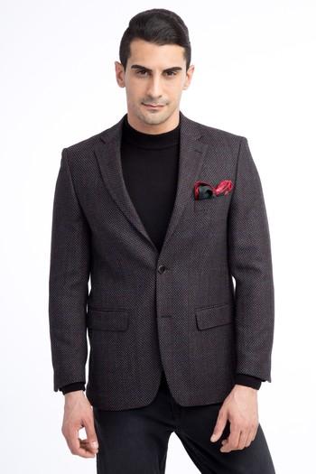 Erkek Giyim - Regular Fit Yünlü Kareli Ceket