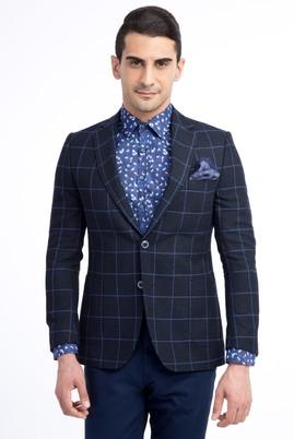 Erkek Giyim - Lacivert 58 Beden Kareli Ceket