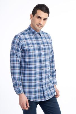 Erkek Giyim - Lacivert L Beden Uzun Kol Ekose Klasik Gömlek