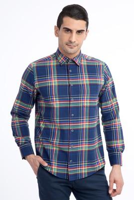 Erkek Giyim - Lacivert 3X Beden Uzun Kol Ekose Gömlek