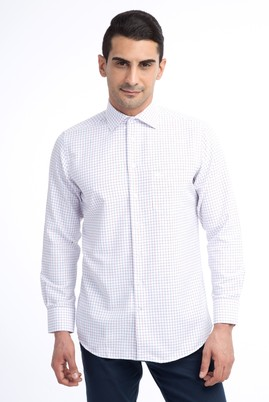 Erkek Giyim - Beyaz 3X Beden Uzun Kol Ekose Gömlek