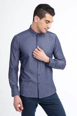 Erkek Giyim - Lacivert L Beden Uzun Kol Denim Slim Fit Gömlek