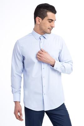 Erkek Giyim - Açık Mavi XL Beden Uzun Kol Çizgili Klasik Gömlek