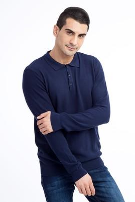 Erkek Giyim - Lacivert M Beden Polo Yaka Slim Fit Triko Kazak
