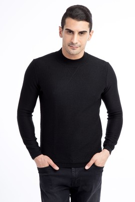 Erkek Giyim - Siyah L Beden Bato Yaka Yünlü Slim Fit Triko Kazak