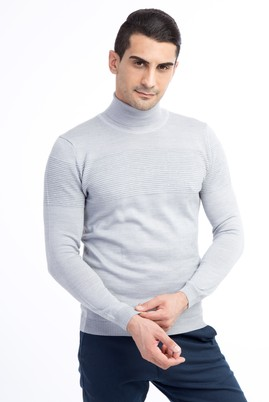 Erkek Giyim - Açık Gri XL Beden Balıkçı Yaka Yünlü Slim Fit Triko Kazak