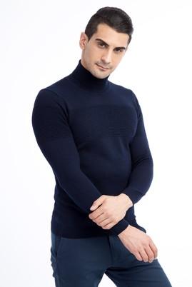 Erkek Giyim - Lacivert L Beden Balıkçı Yaka Yünlü Slim Fit Triko Kazak