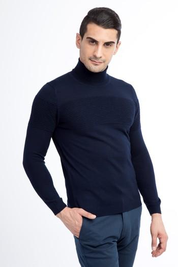 Erkek Giyim - Balıkçı Yaka Yünlü Slim Fit Triko Kazak