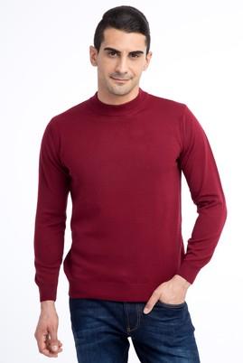 Erkek Giyim - Bordo XL Beden Bato Yaka Triko Kazak