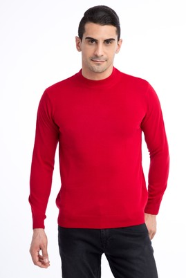Erkek Giyim - Kırmızı XL Beden Bato Yaka Regular Fit Triko Kazak