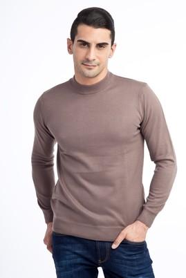 Erkek Giyim - VİZON S Beden Bato Yaka Regular Fit Triko Kazak