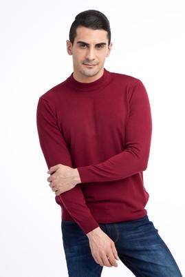 Erkek Giyim - Bordo S Beden Bato Yaka Triko Kazak