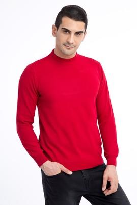 Erkek Giyim - Kırmızı L Beden Bato Yaka Triko Kazak