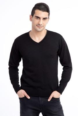 Erkek Giyim - Siyah L Beden V Yaka Desenli Slim Fit Triko Kazak
