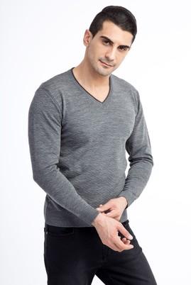 Erkek Giyim - Orta füme L Beden V Yaka Desenli Slim Fit Triko Kazak