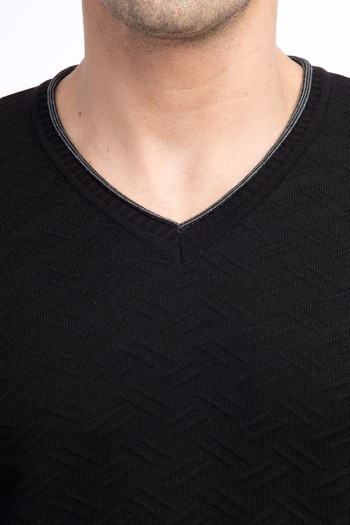 Erkek Giyim - V Yaka Desenli Slim Fit Triko Kazak