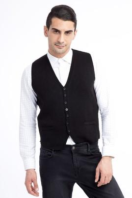 Erkek Giyim - Siyah L Beden Desenli Slim Fit Yelek