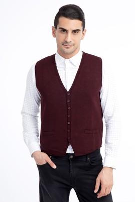 Erkek Giyim - Bordo M Beden Desenli Slim Fit Yelek